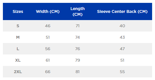 Gildan Heavy Cotton size chart
